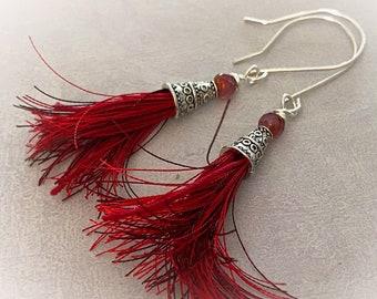 Red Tassel Earrings. Sterling Silver Earring Wires. Boho Chic Modern Earrings