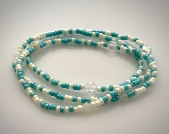 Blue Green Stretch Seed Bead and Moonstone Bracelet. Fits 6 1/2 to 7 1/2 Inch Wrist.
