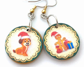 Mismatched Wooden Christmas Earrings. Lightweight Decoupage Circle Earrings