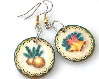 Mismatched Wooden Christmas Earrings. Lightweight Decoupage Earrings