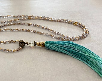 Beaded Tassel Necklace. Gold Seed Beads and Ombre Cotton Tassel