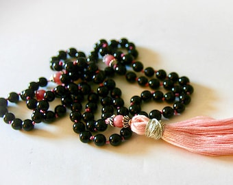 Black Onyx and Pink Jade Mala Necklace . Bohemian Jewelry. Meditation Beads. Boho Jewelry. Yoga Jewelry.