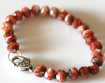 Cherry Red Picasso Bracelet with Silver Heart Clasp. 8 inch Size.
