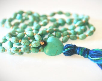 Mala Bead Tassel Necklace. Turquoise Magnesite Gemstones. Hand-Knotted Yoga Necklace