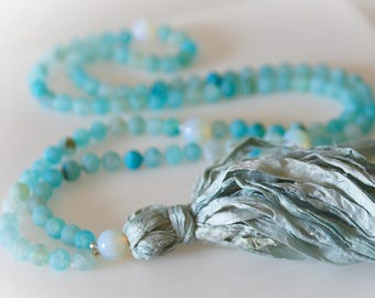 Mala 108 Bead Tassel Necklace. Aqua Blue Agate & Sari Silk Tassel. Boho Chic. Yoga Jewelry. Meditation Beads.