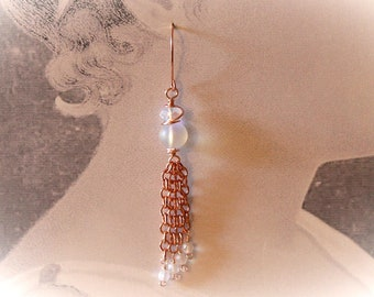 Rose Gold Tassel & Moonlight Crystal Earrings. Long Dangle Chain Tassel Earrings