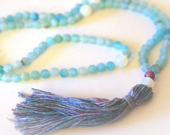 Mala Tassel Necklace. 108 Beads. Boho Yoga Jewelry. Meditation Beads. Blue Agate Gemstones & Handmade Silk Tassel.