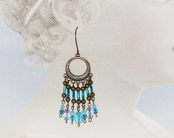 Bohemian Blue Gypsy Earrings. Extra Long Chandelier Earrings. Boho Beaded Jewelry