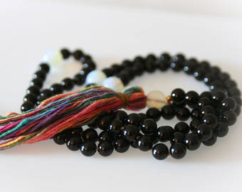 Black Onyx Mala Necklace. Prayer Beads. Meditation Beads. Boho Jewelry. Yoga Jewelry.