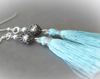 Turquoise Blue Silk Tassel Earrings. Long Silk Tassels on Sterling Silver Earring Wires