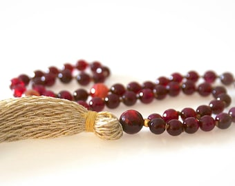 Half Mala - 54 Beads. Burgundy Agate and Tourmaline Gemstones With Gold Tassel. Yoga Beads. Meditation Beads.