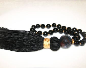 Pocket Mala - Black Onyx and Gold Knotted. 27 Bead Mala. Yoga, Meditation, Prayer Beads