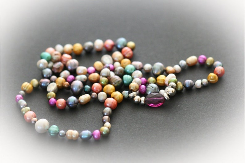 Opera Length Pearl Necklace With Jewel Colored Freshwater image 0