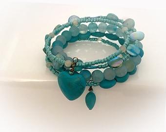 Blue Gemstone Wrap Bracelet. Multi-Wrap Memory Wire Bracelet. One Size Fits Most
