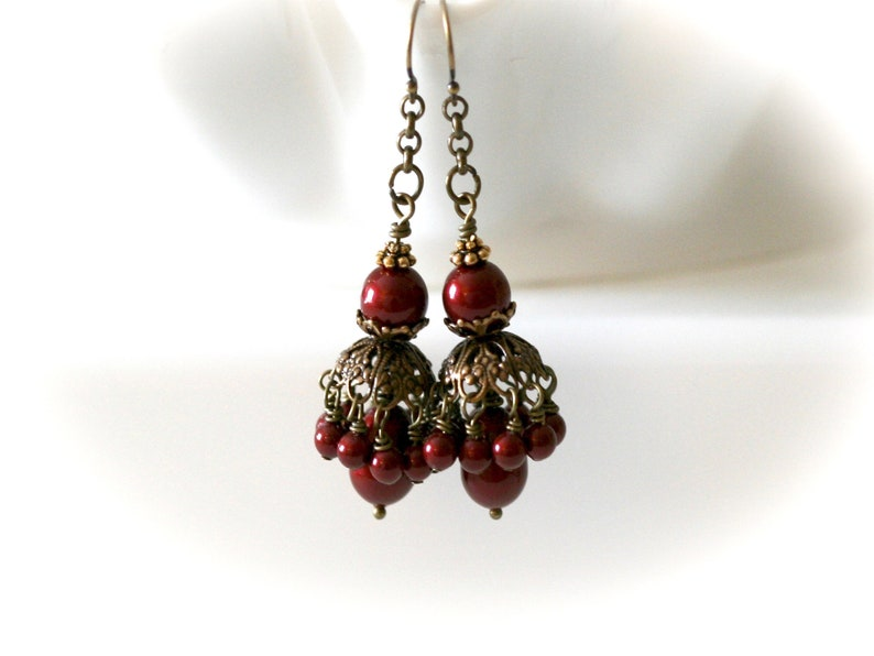 Red Pearl Parasol Earrings. Prom Earrings. Special Occasion image 0