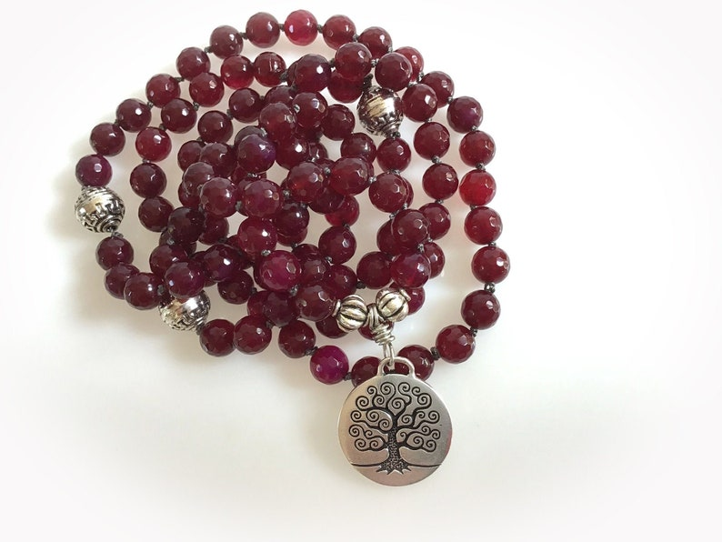 108 Red Agate Mala Beads with Tree of Life Pendant Charm. image 0