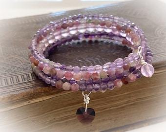 Purple Gemstone Multi-Wrap Bracelet. Amethyst, Pink Tourmaline and Lilac Jade