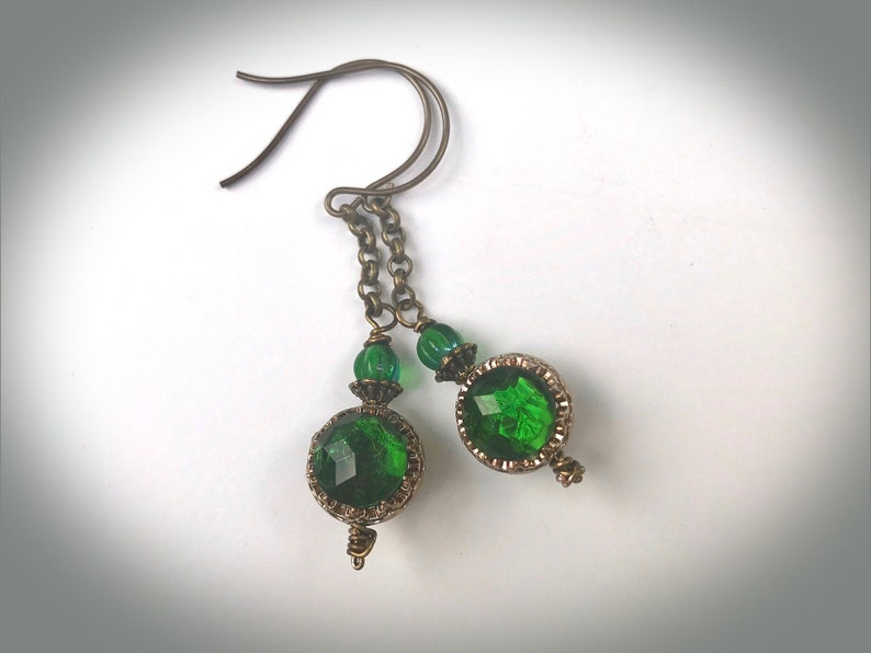 Emerald Green Victorian Statement Earrings with Vintage Glass image 0