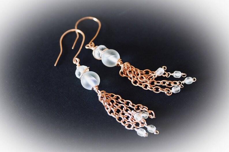Rose Gold Fringe Tassel Earrings. Long Dangle Chain Tassel image 0