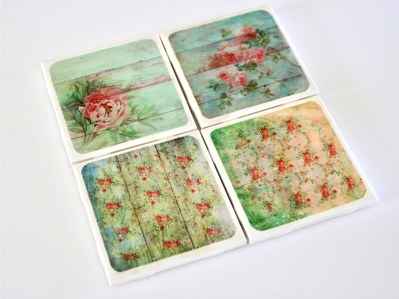 Set of Four Shabby Chic Coasters. Country Cottage Decor image 0