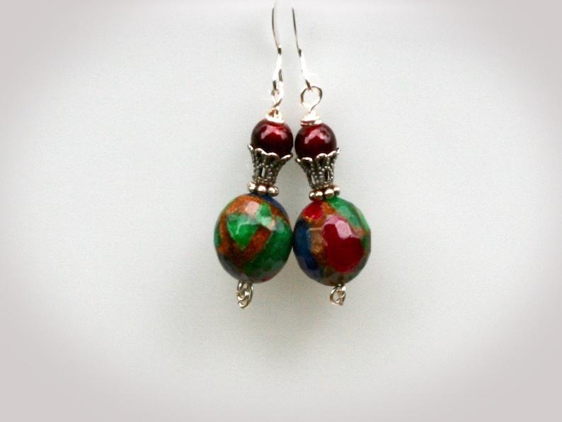 Bohemian Mosaic Glass Earrings. Boho Bohemian Handmade image 0