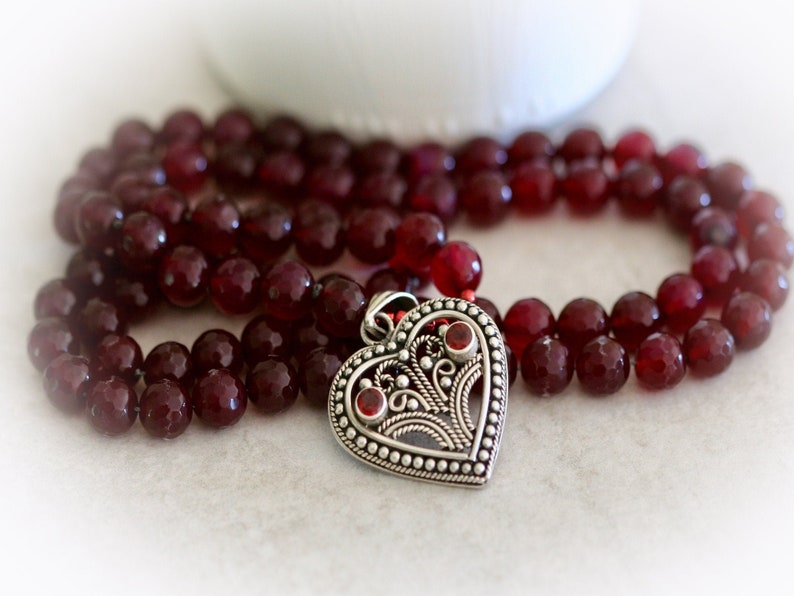 Boho Gemstone and Sterling Silver Heart Necklace. Hand Knotted image 0