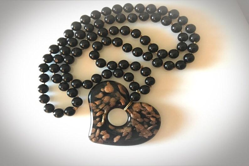 Long Bohemian Glass Heart Necklace. Black Onyx Gemstones  image 0