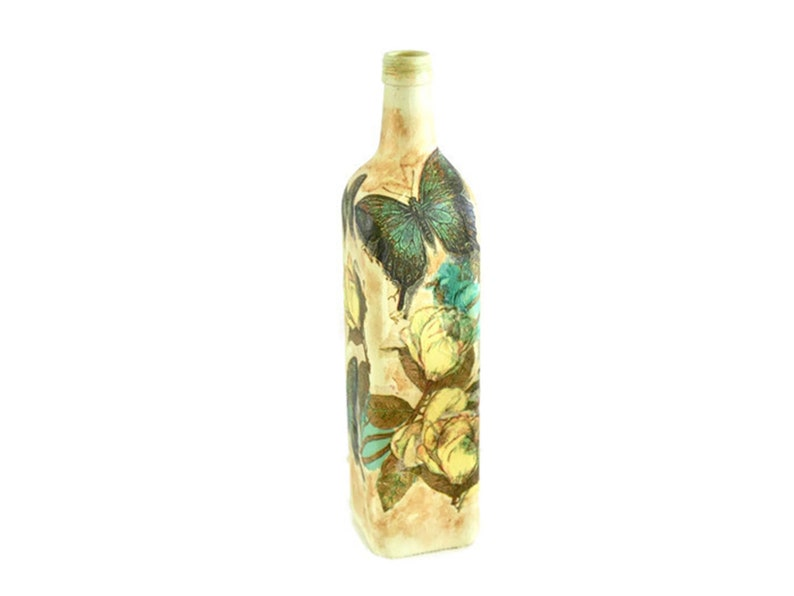Decoupaged Painted Bottle. Shabby Chic Flowers & Butterfies. image 0