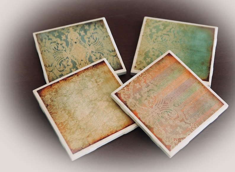 Set of Four Ceramic Tile Coasters  Victorian Lace Shabby Chic image 0
