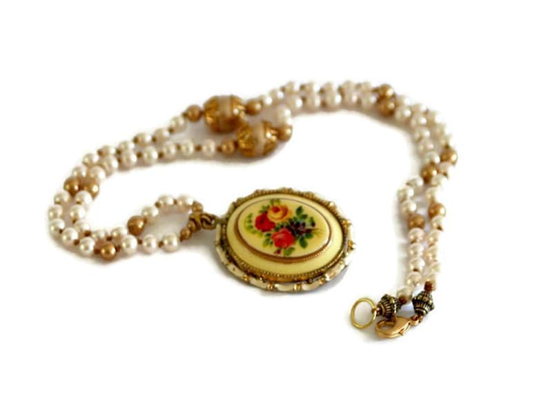 Flower Cameo Necklace. Repurposed Vintage Pendant. Hand image 0