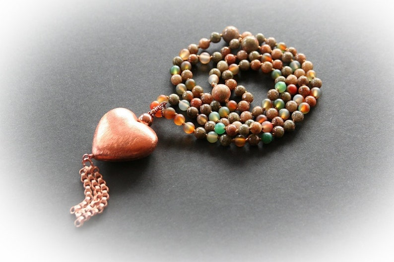 Gemstone Beaded Necklace With Copper Heart Pendant. Bohemian image 0