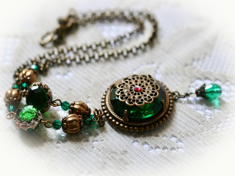 Emerald Green Statement Choker Necklace with Antique Brass image 0