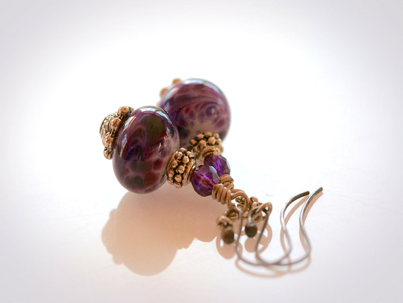 Purple Lampwork Dangle Earrings. Bohemian Artisan Glass image 0