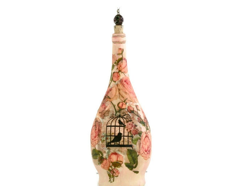 Shabby Chic Wine Bottle. Painted Decoupaged Floral Bottle image 0