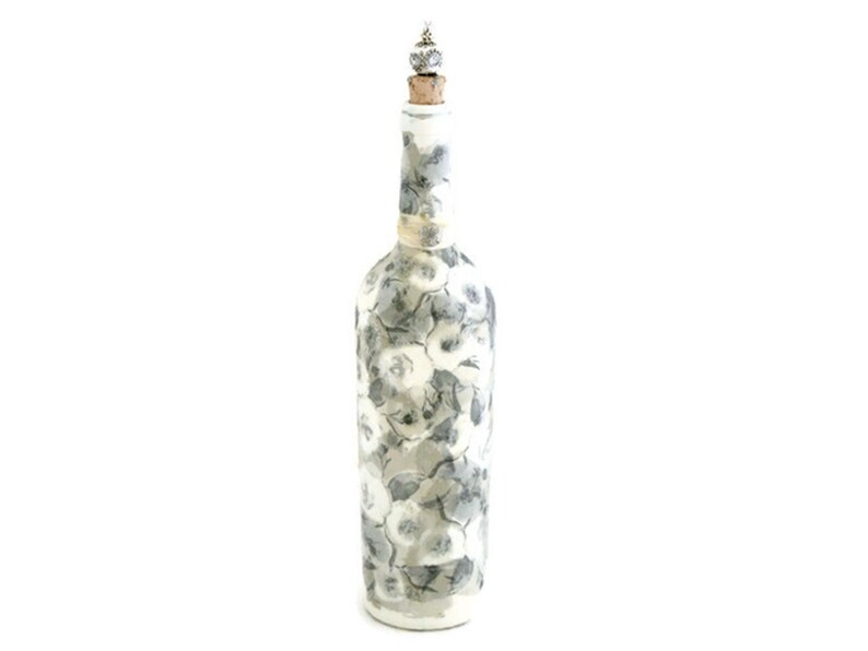 Painted & Decoupaged Wine Bottle in Silver and White image 0