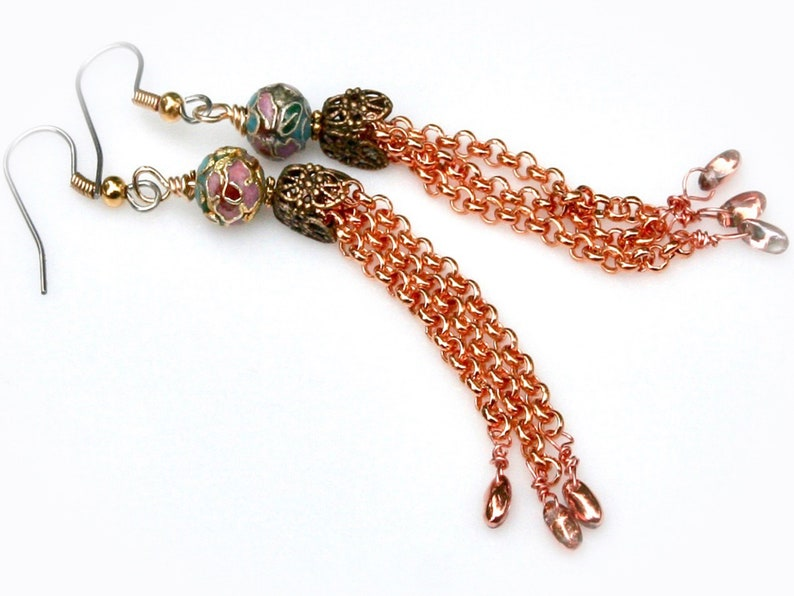 Mixed Metal Chain Tassel Earrings image 0