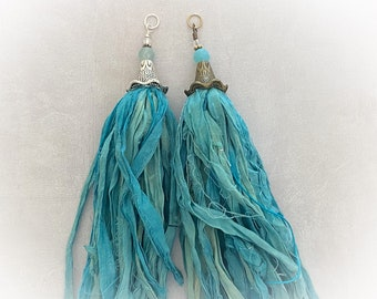Ornate Handmade Sari Silk Tassel for Jewelry Making and Crafts. Antique Silver or Bronze Tassel Top
