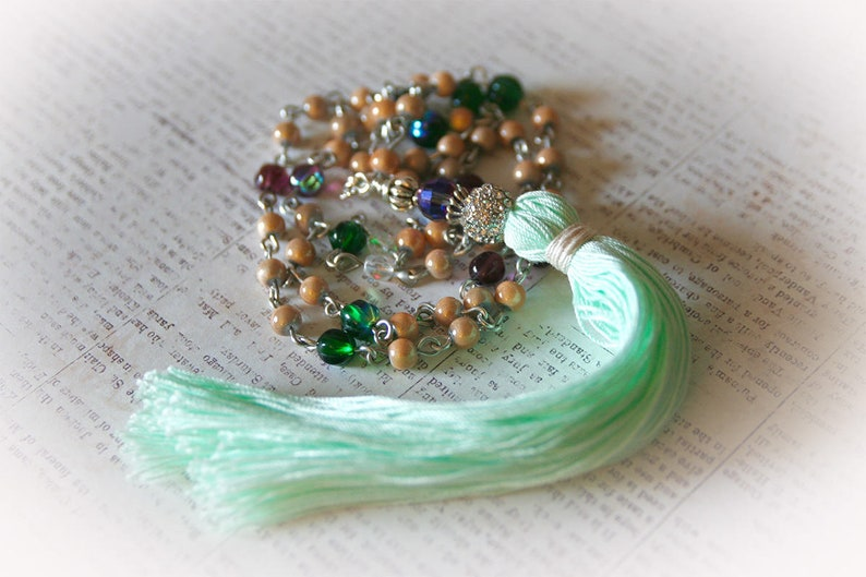 Boho Tassel Necklace. Green and Purple Glass Beads with image 0