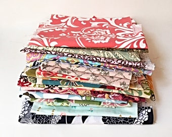 FABRICS Mixed Lot Cotton Remnants Quilting Scraps Scrapbooking Quilt Fabric Sewing Craft Mixed Media Floral Paisley Damask approx 2.5 pounds
