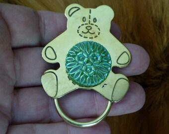 #E-479 Teddy bear lover Eyeglass pin pendant ID badge holder