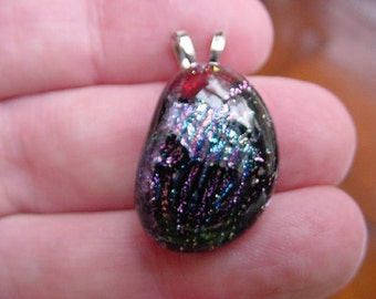 Pink blue shimmer sparkle black dichroic fused glass JEWELRY pendant DL-248