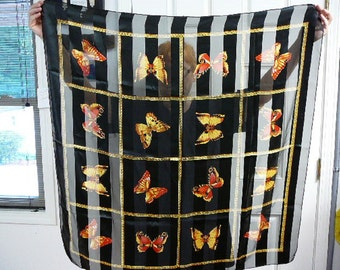vintage Black striped polyester square yellow orange butterfly scarf scarve VS-6