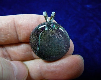 Purple Green shimmer sparkle black dichroic fused glass JEWELRY pendant DL-606