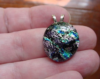 Purple Green blue shimmer sparkle black dichroic fused glass JEWELRY pendant DL-426