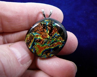 orange blue green snakeskin shimmer sparkle black dichroic fused glass JEWELRY pendant DL-844
