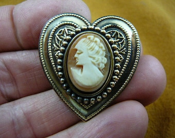 Lady looking down hair up with curls orange CAMEO heart brass Pin pendant Brooch jewelry CT15-4