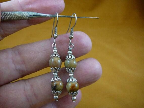 10 mm Real DINOSAUR POOP bead silver wire dangle Earrings Utah Dino Coprolite Fossil dino Weird DP1-9p