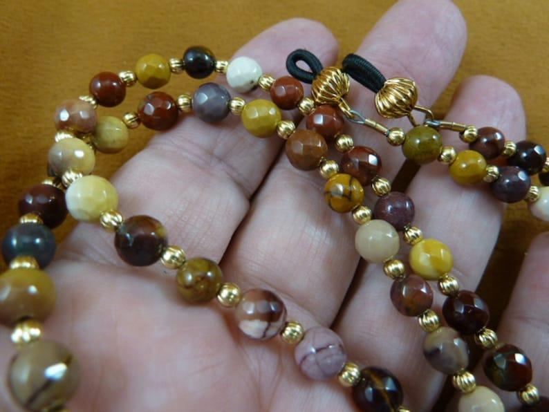 "tan red brown brown white Mookaite jasper gemstone 33"" long Eyeglass beaded leash holder necklace chain E99-23"
