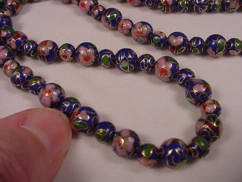 Royal Blue Cloisonne Beads pink flower flowers 20 inch long beaded Necklace jewelry V262-F