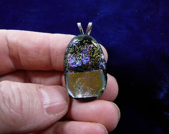 silver blue purple lime green pink shimmer sparkle black dichroic fused glass JEWELRY pendant DL-847